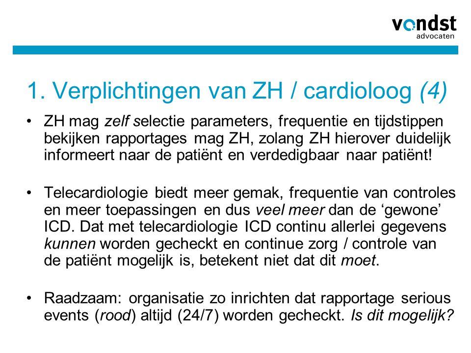 1. Verplichtingen van ZH / cardioloog (4)