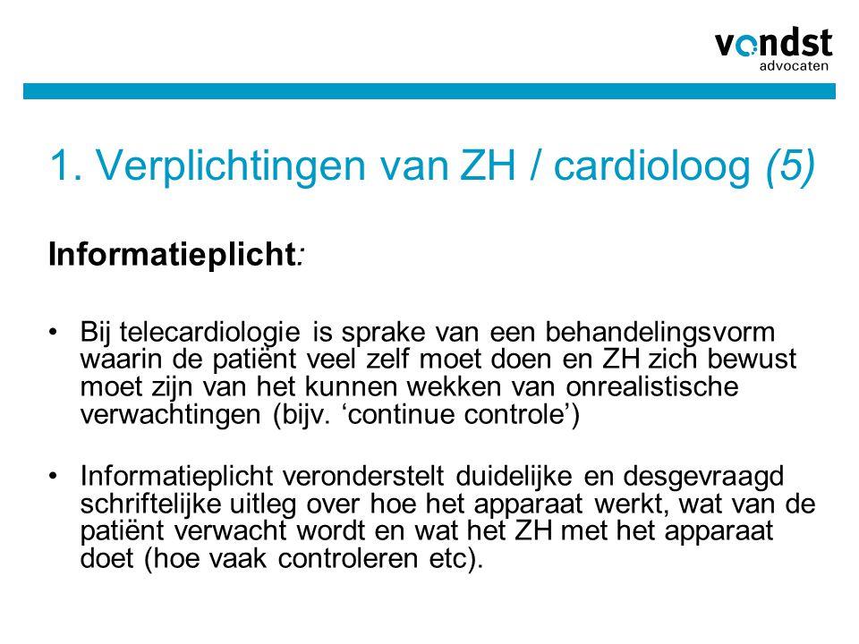1. Verplichtingen van ZH / cardioloog (5)