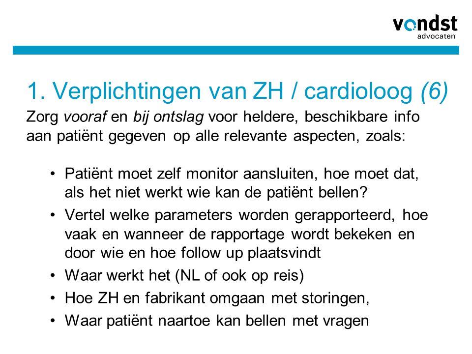 1. Verplichtingen van ZH / cardioloog (6)