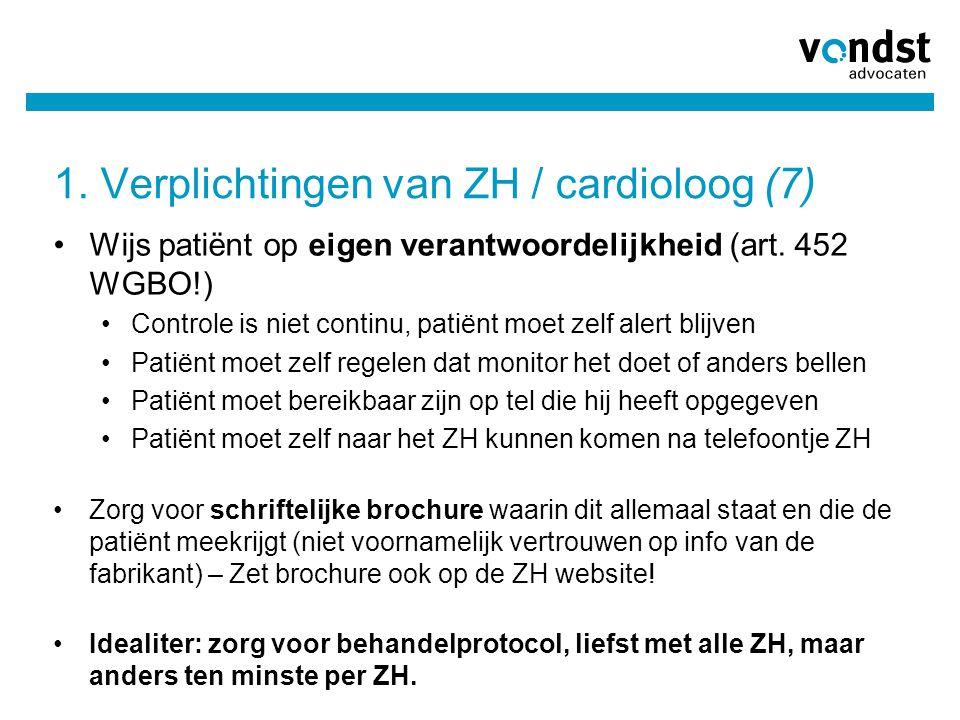 1. Verplichtingen van ZH / cardioloog (7)