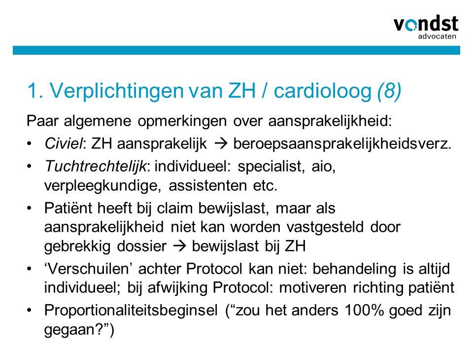 1. Verplichtingen van ZH / cardioloog (8)