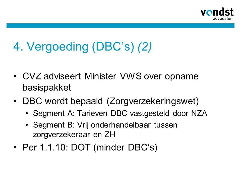 4. Vergoeding (DBC's) (2) CVZ adviseert Minister VWS over opname basispakket. DBC wordt bepaald (Zorgverzekeringswet)