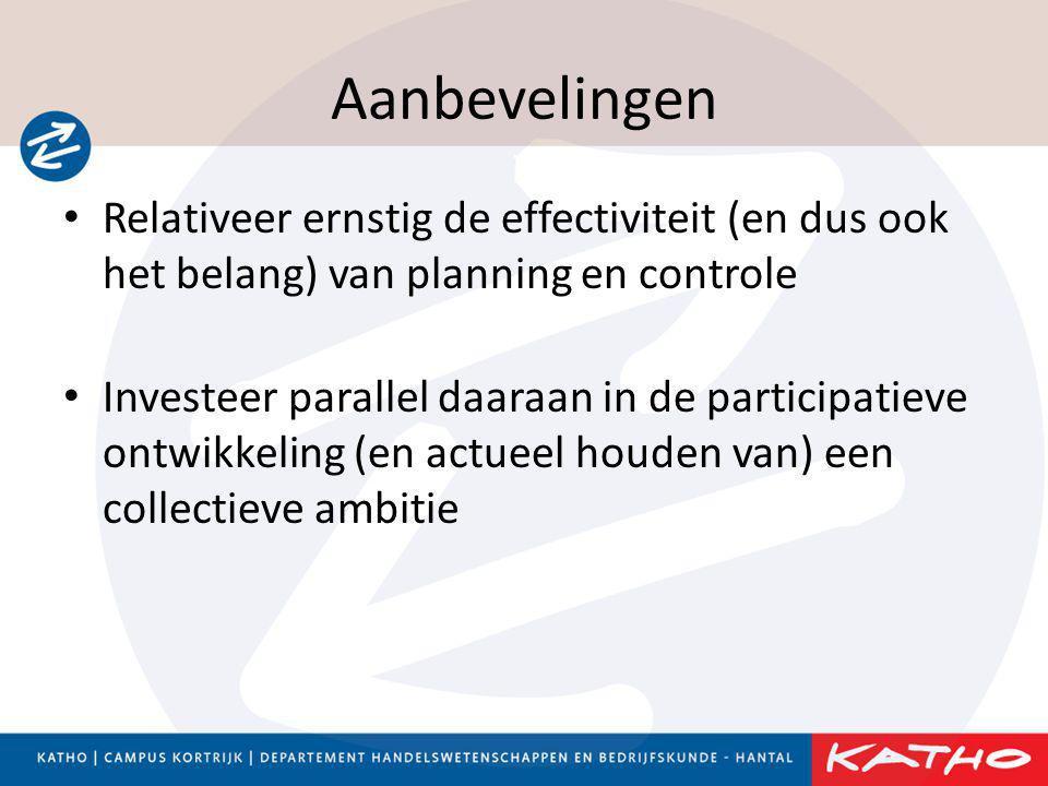 Aanbevelingen Relativeer ernstig de effectiviteit (en dus ook het belang) van planning en controle.