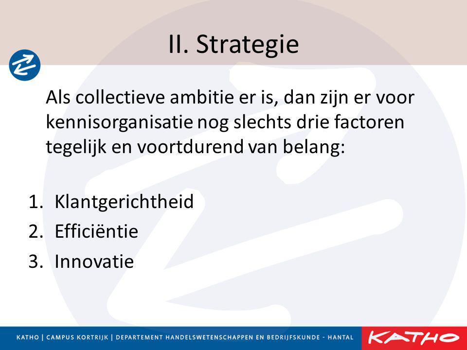 II. Strategie Als collectieve ambitie er is, dan zijn er voor kennisorganisatie nog slechts drie factoren tegelijk en voortdurend van belang: