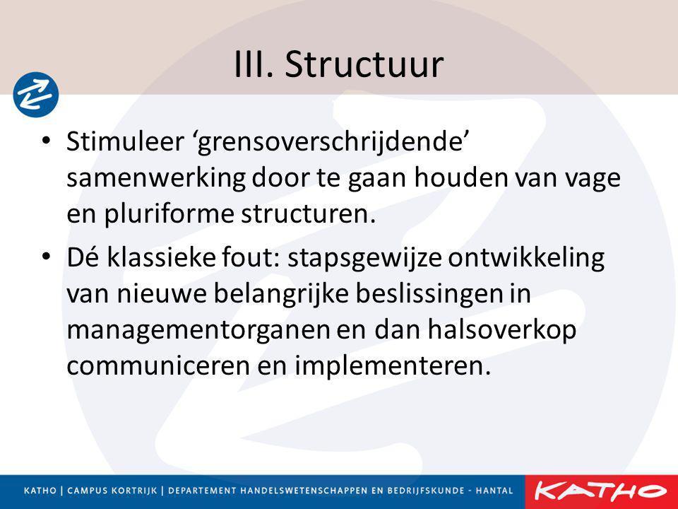 III. Structuur Stimuleer 'grensoverschrijdende' samenwerking door te gaan houden van vage en pluriforme structuren.