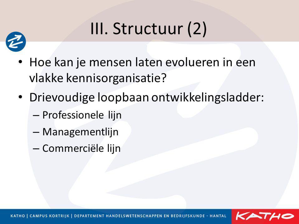 III. Structuur (2) Hoe kan je mensen laten evolueren in een vlakke kennisorganisatie Drievoudige loopbaan ontwikkelingsladder: