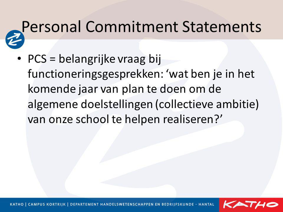 Personal Commitment Statements