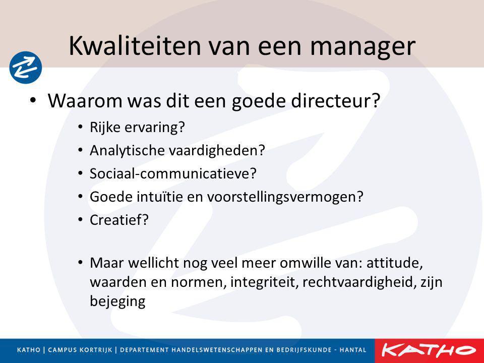 Kwaliteiten van een manager