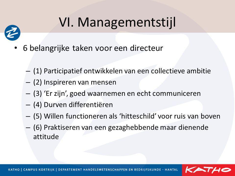 VI. Managementstijl 6 belangrijke taken voor een directeur