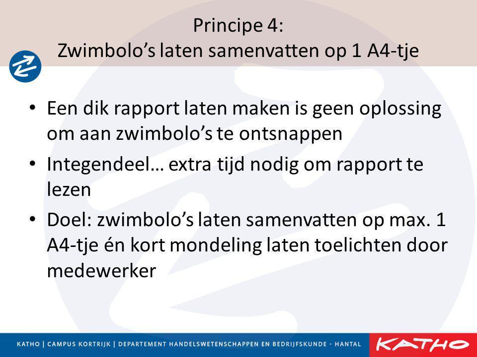 Principe 4: Zwimbolo's laten samenvatten op 1 A4-tje