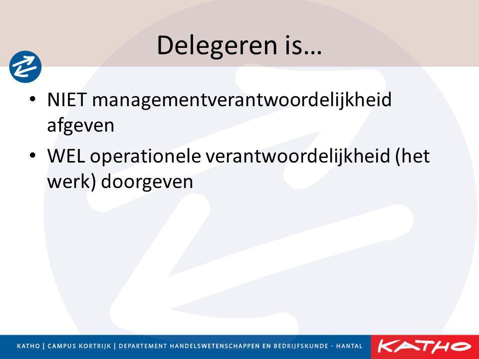 Delegeren is… NIET managementverantwoordelijkheid afgeven