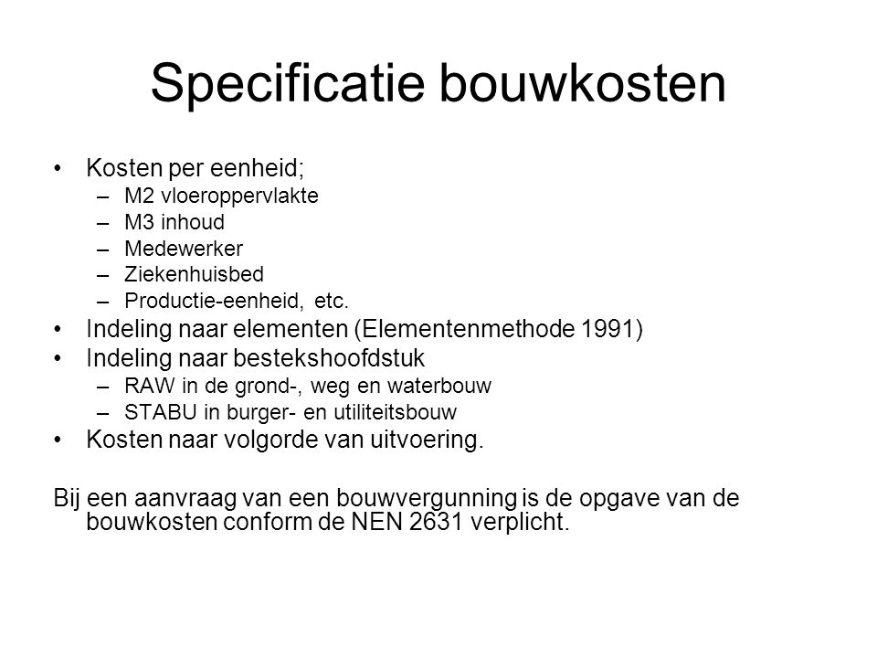 Specificatie bouwkosten