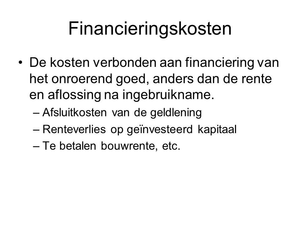 Financieringskosten De kosten verbonden aan financiering van het onroerend goed, anders dan de rente en aflossing na ingebruikname.