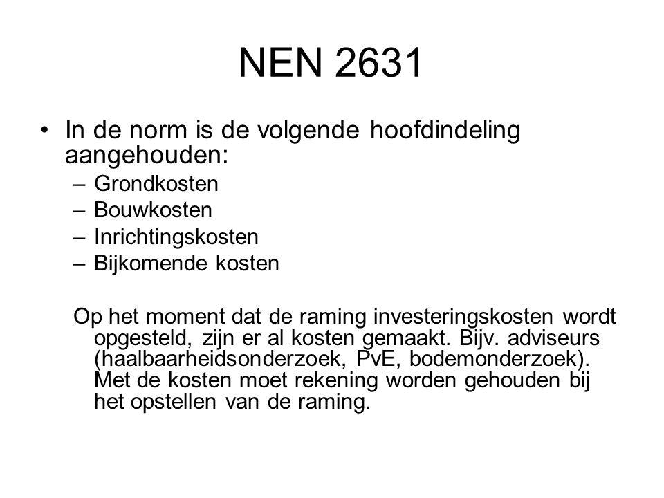NEN 2631 In de norm is de volgende hoofdindeling aangehouden: