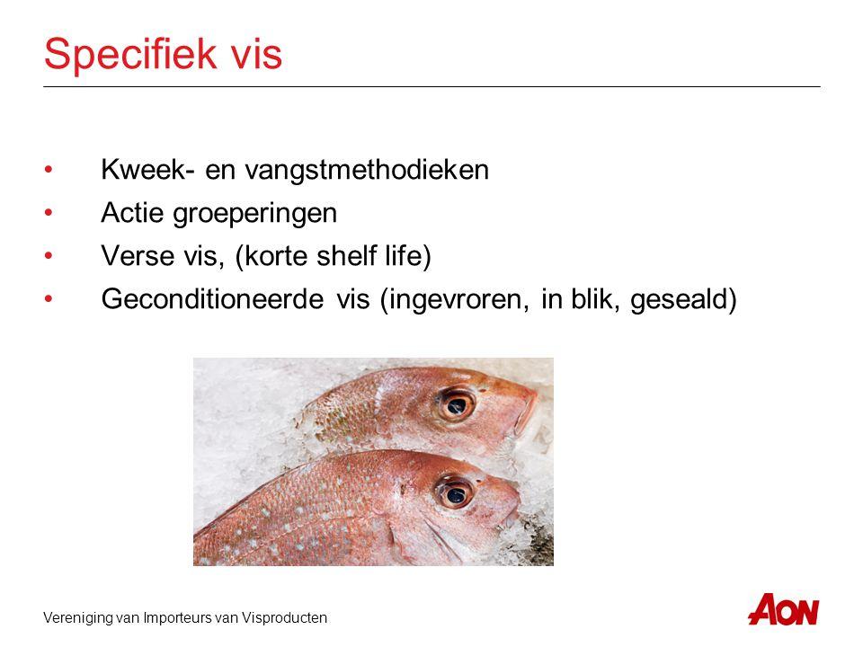 Specifiek vis Kweek- en vangstmethodieken Actie groeperingen