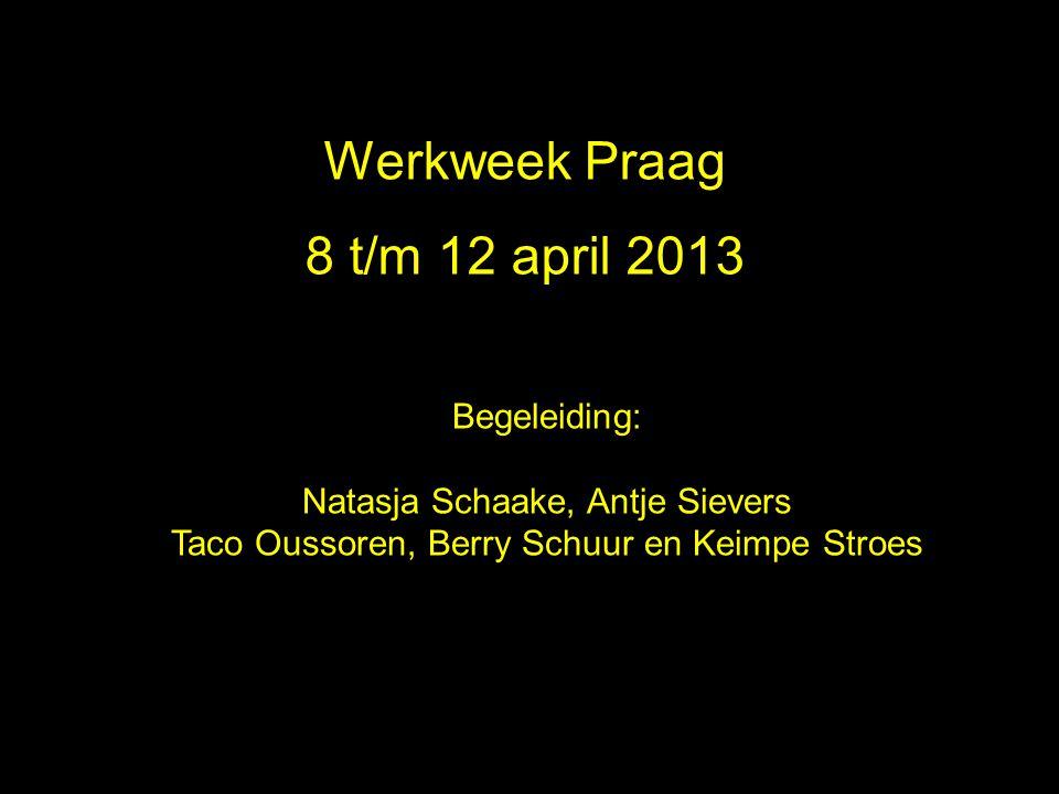 Werkweek Praag 2010 Werkweek Praag 8 t/m 12 april 2013 Begeleiding:
