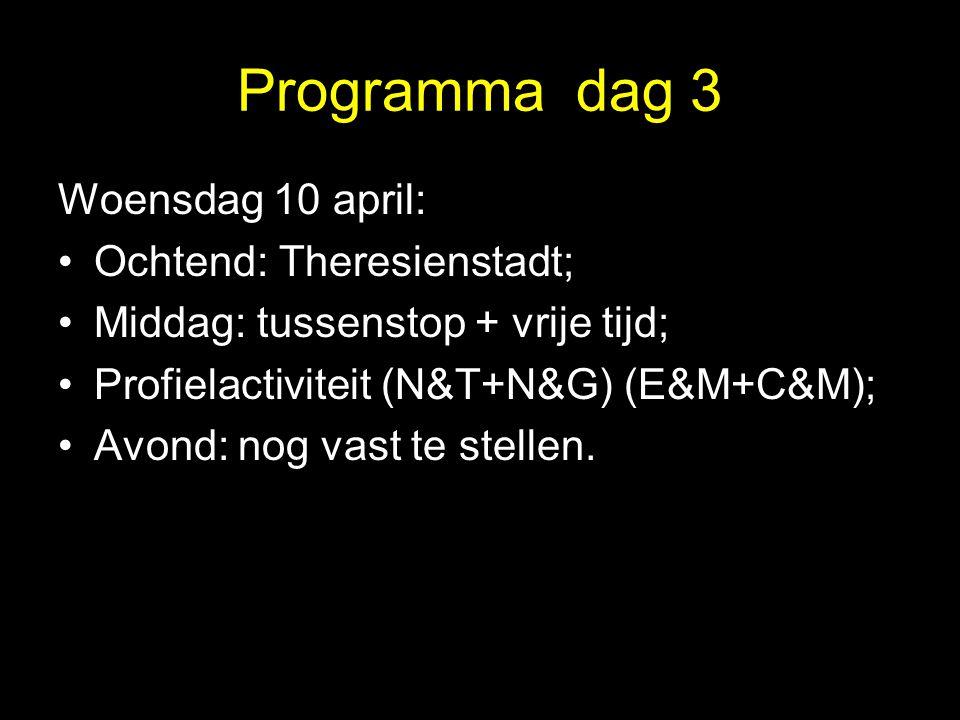 Programma dag 3 Woensdag 10 april: Ochtend: Theresienstadt;