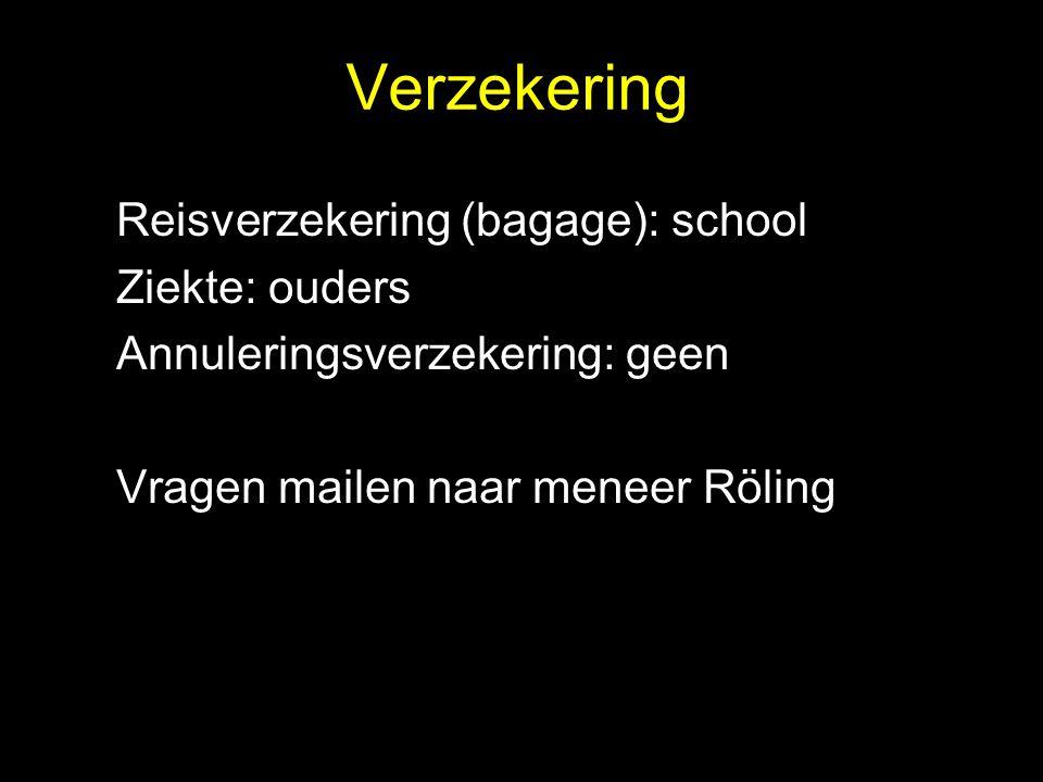 Verzekering Reisverzekering (bagage): school Ziekte: ouders