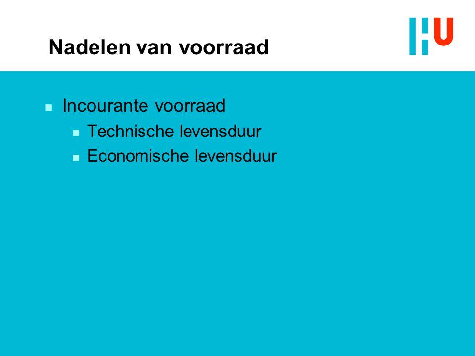 Nadelen van voorraad Incourante voorraad Technische levensduur