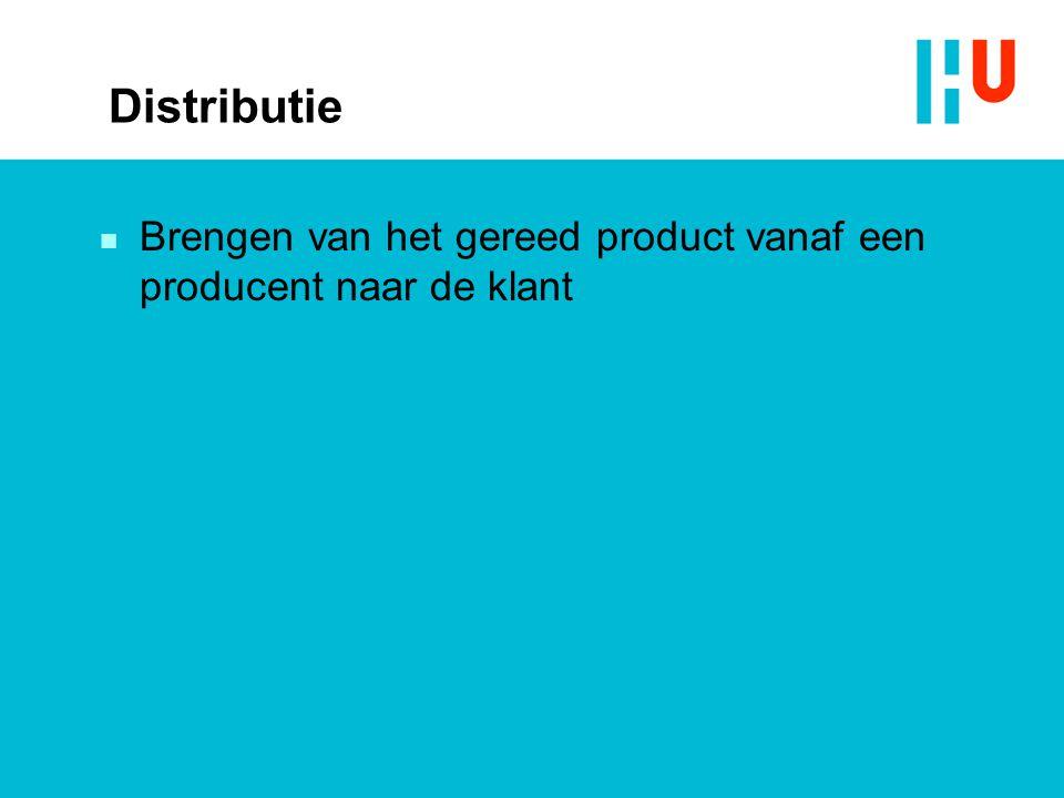 Distributie Brengen van het gereed product vanaf een producent naar de klant