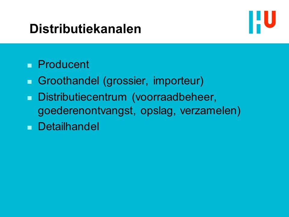 Distributiekanalen Producent Groothandel (grossier, importeur)