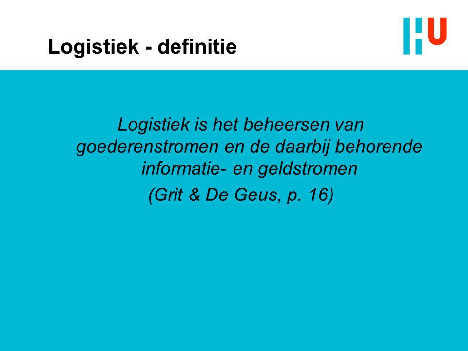 Logistiek - definitie Logistiek is het beheersen van goederenstromen en de daarbij behorende informatie- en geldstromen.