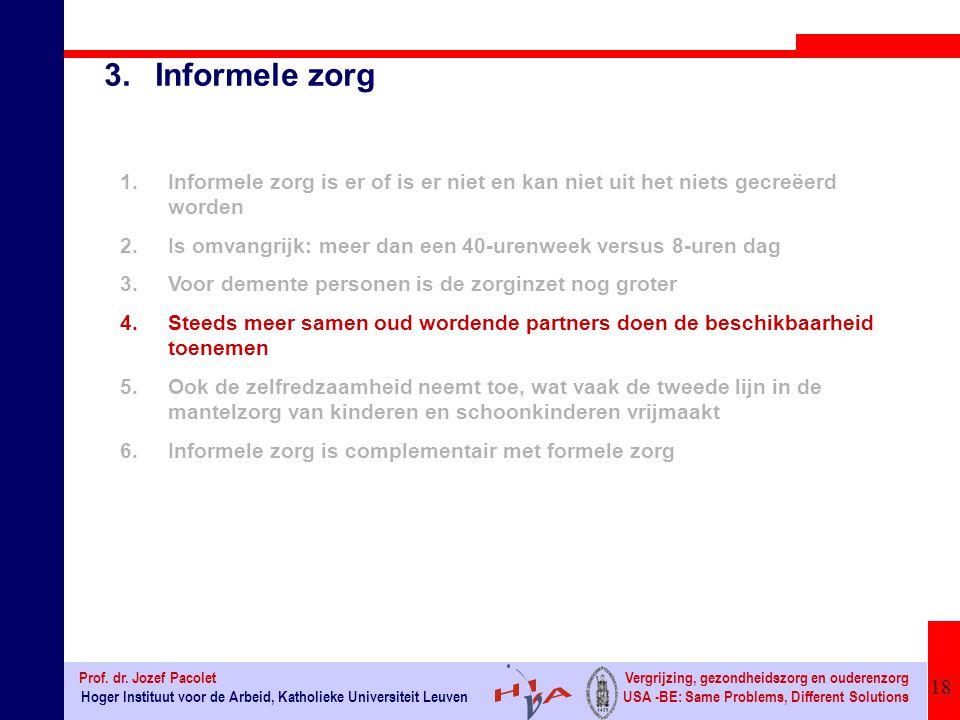 3. Informele zorg Informele zorg is er of is er niet en kan niet uit het niets gecreëerd worden.