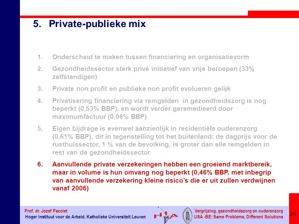 5. Private-publieke mix Onderscheid te maken tussen financiering en organisatievorm.