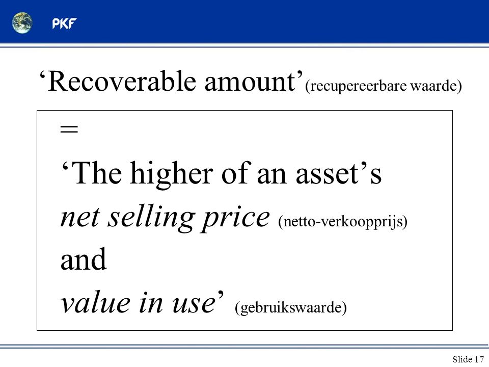 'Recoverable amount'(recupereerbare waarde)