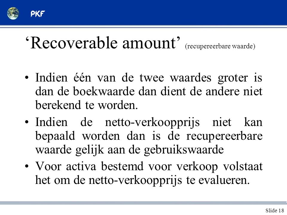 'Recoverable amount' (recupereerbare waarde)
