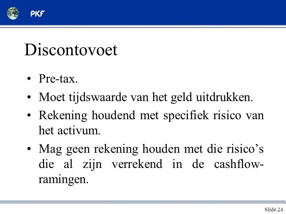Discontovoet Pre-tax. Moet tijdswaarde van het geld uitdrukken.