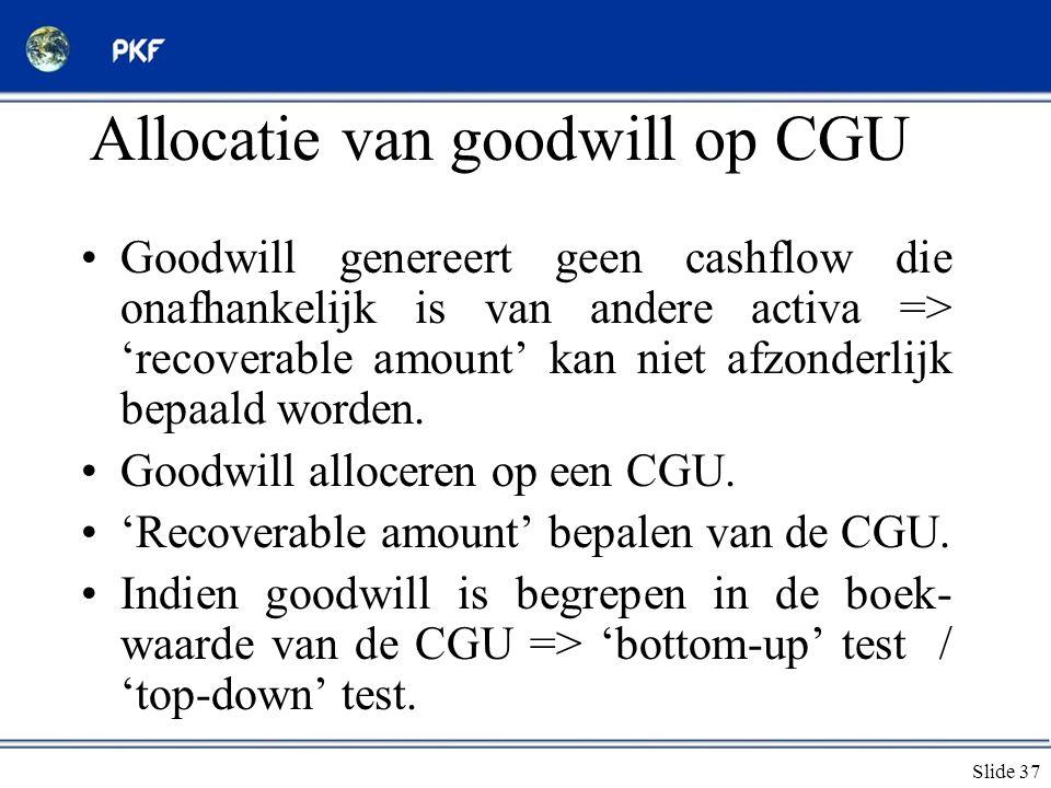 Allocatie van goodwill op CGU