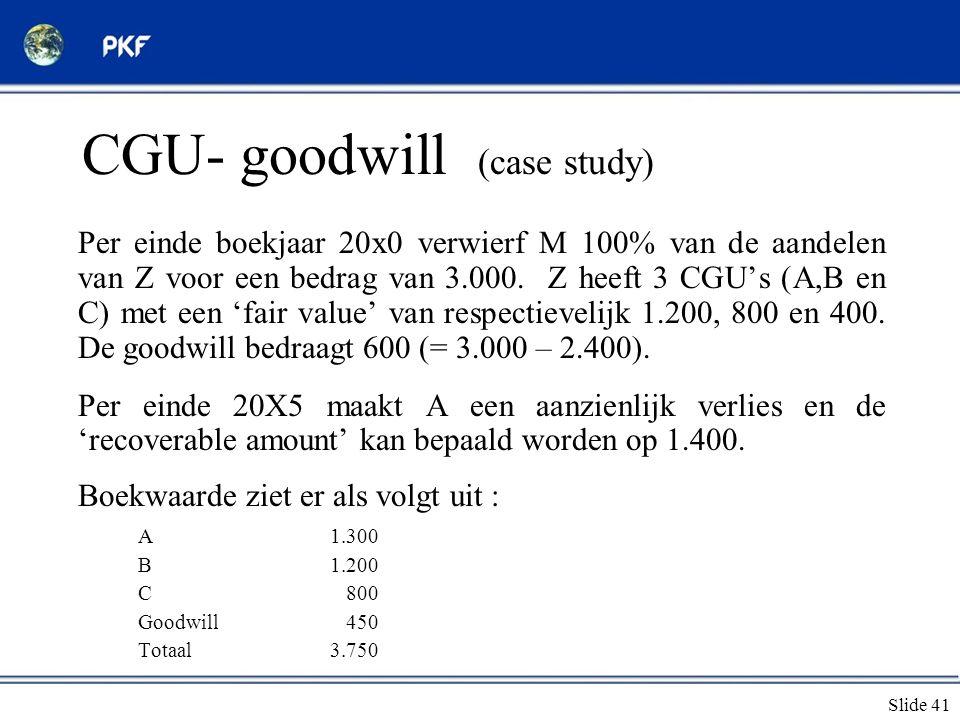 CGU- goodwill (case study)