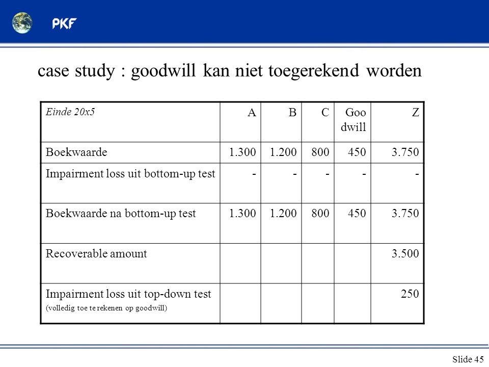 case study : goodwill kan niet toegerekend worden