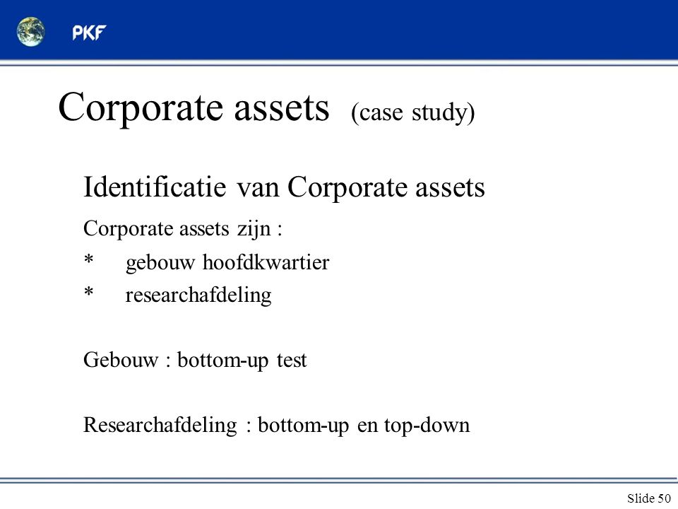 Corporate assets (case study)