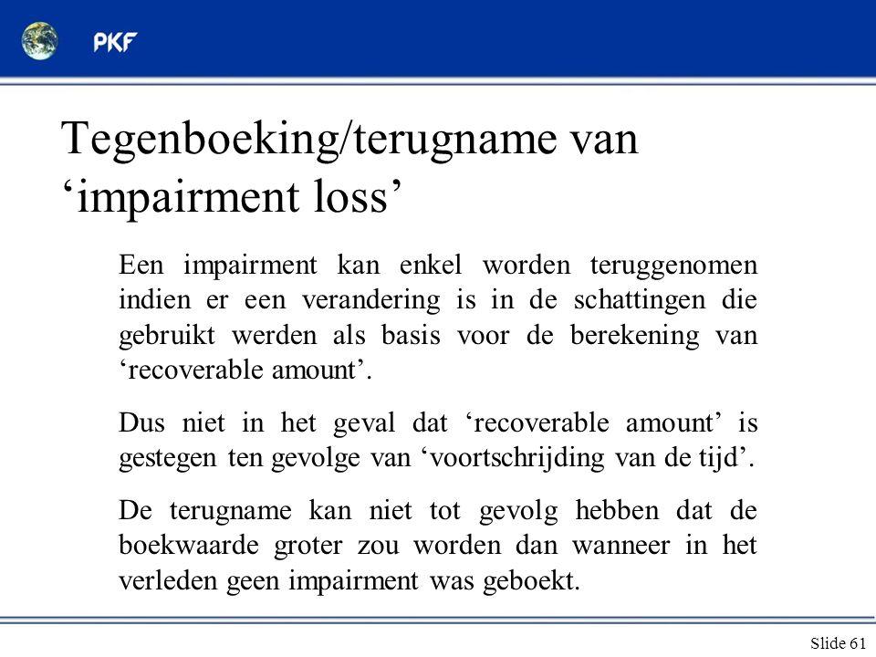 Tegenboeking/terugname van 'impairment loss'