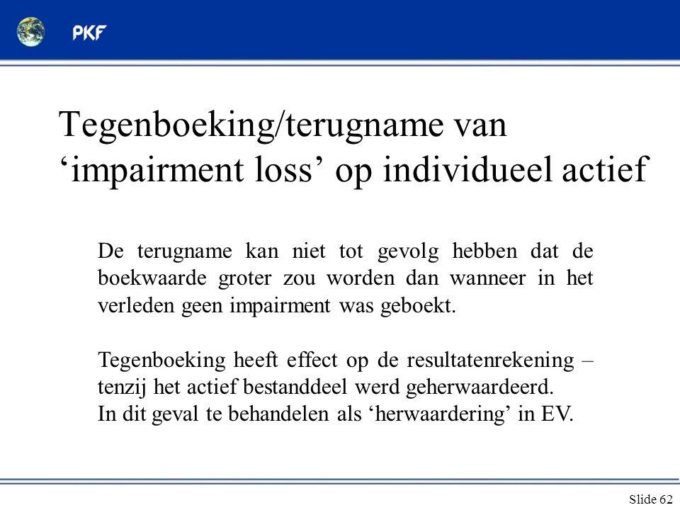 Tegenboeking/terugname van 'impairment loss' op individueel actief