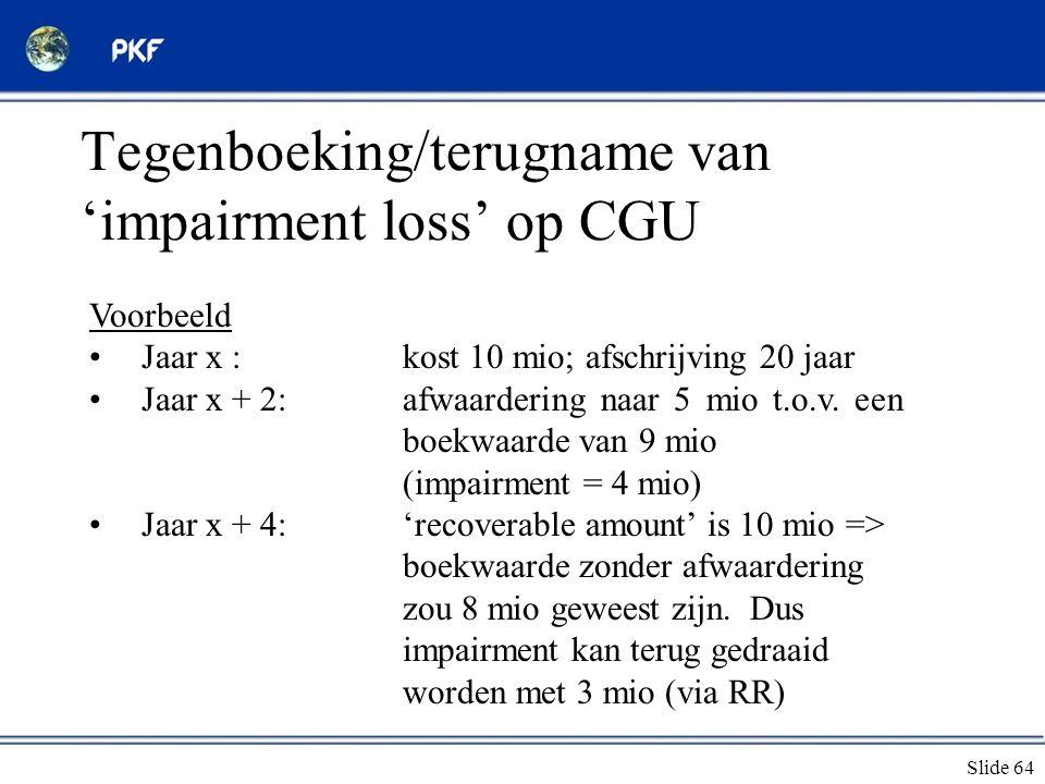 Tegenboeking/terugname van 'impairment loss' op CGU