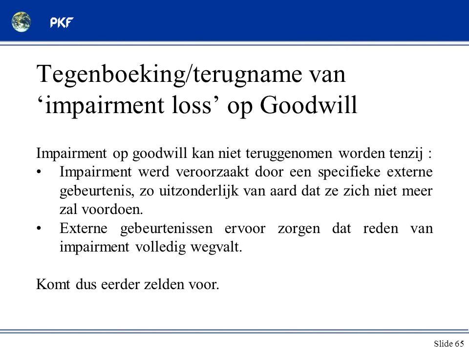 Tegenboeking/terugname van 'impairment loss' op Goodwill