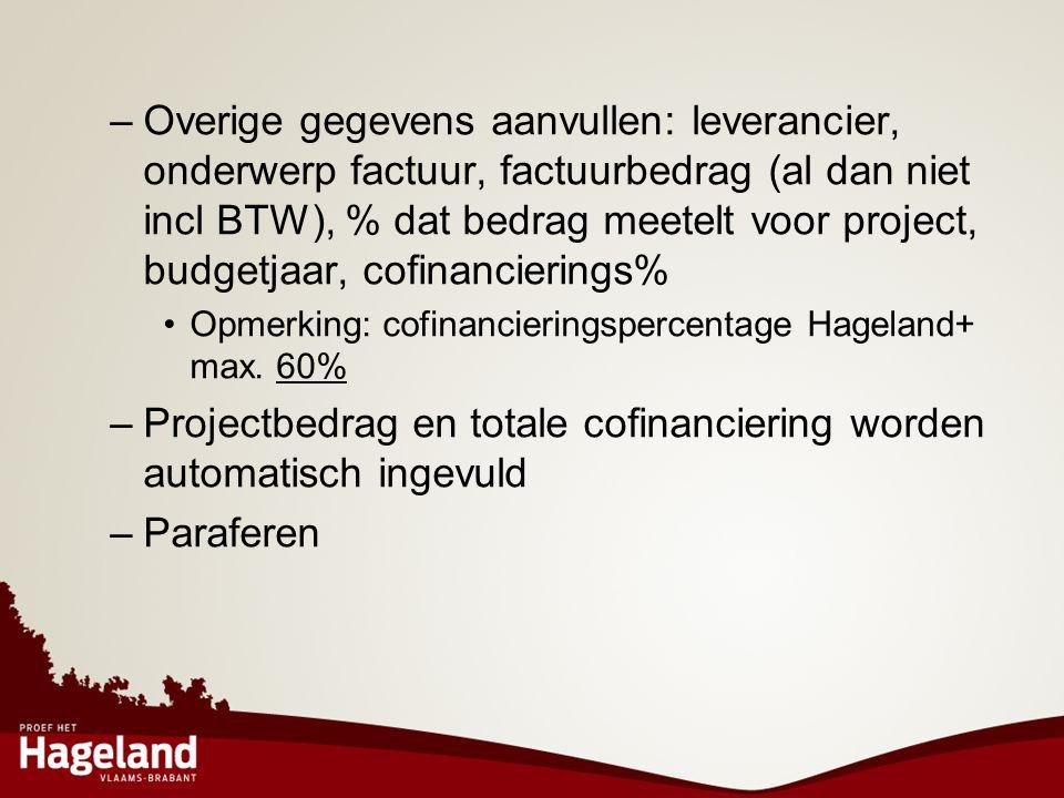 Projectbedrag en totale cofinanciering worden automatisch ingevuld