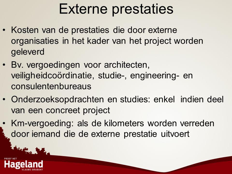 Externe prestaties Kosten van de prestaties die door externe organisaties in het kader van het project worden geleverd.