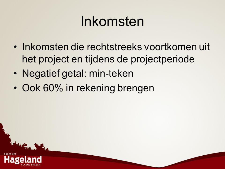 Inkomsten Inkomsten die rechtstreeks voortkomen uit het project en tijdens de projectperiode. Negatief getal: min-teken.