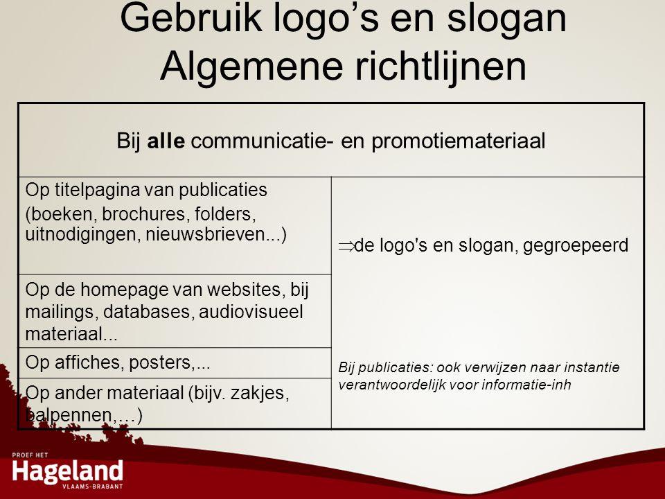 Gebruik logo's en slogan Algemene richtlijnen