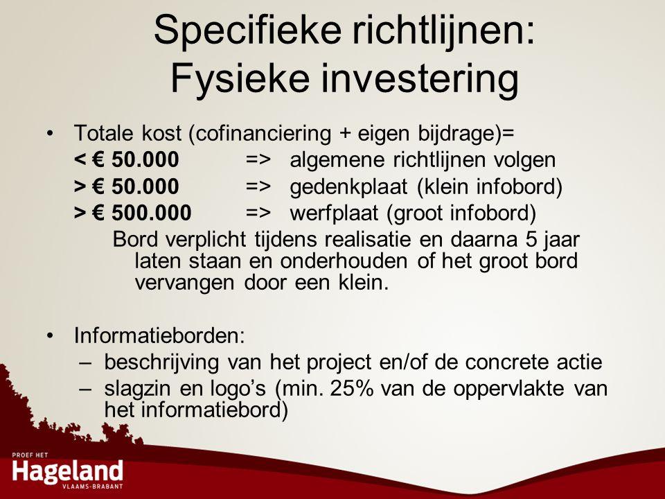 Specifieke richtlijnen: Fysieke investering