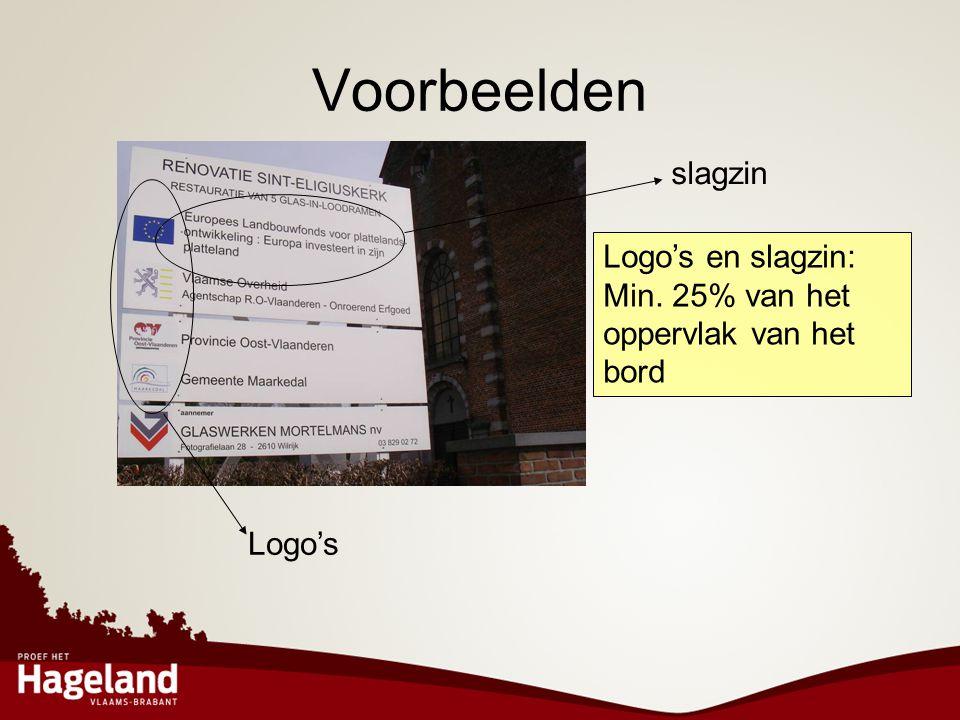 Voorbeelden slagzin Logo's en slagzin: Min. 25% van het oppervlak van het bord Logo's