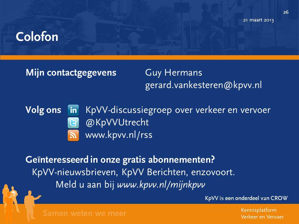 Colofon Mijn contactgegevens Guy Hermans gerard.vankesteren@kpvv.nl