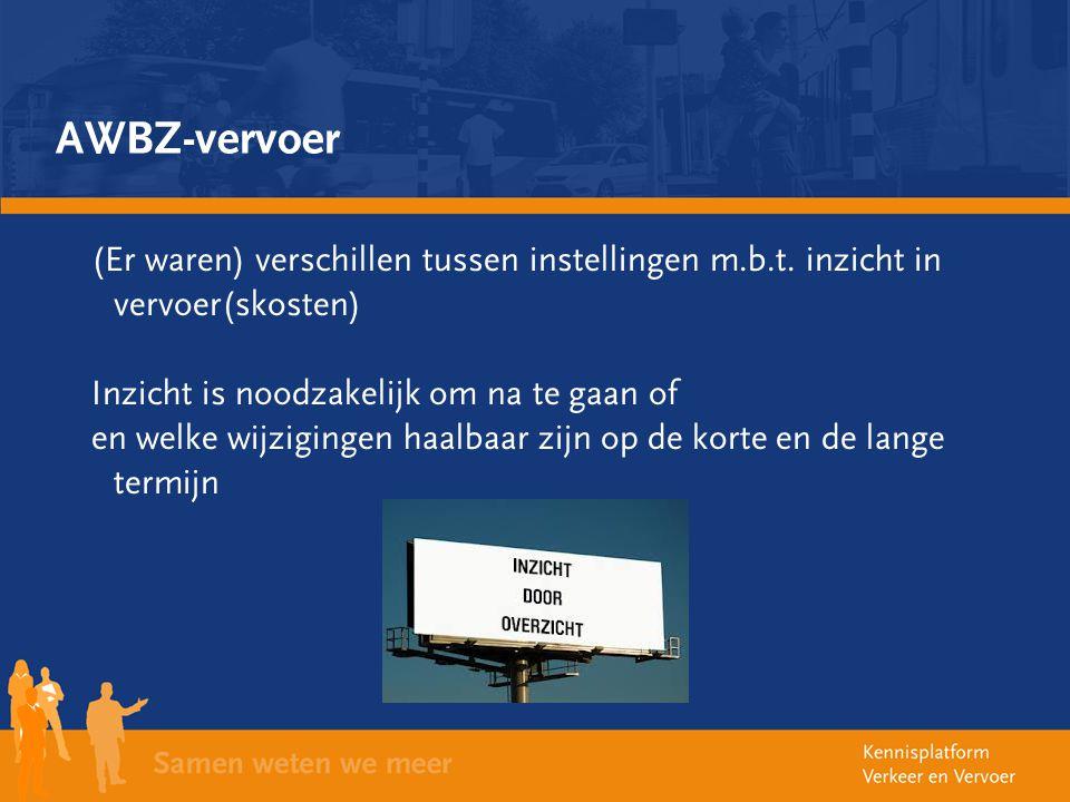 AWBZ-vervoer (Er waren) verschillen tussen instellingen m.b.t. inzicht in vervoer(skosten) Inzicht is noodzakelijk om na te gaan of.
