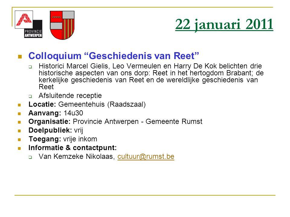22 januari 2011 Colloquium Geschiedenis van Reet