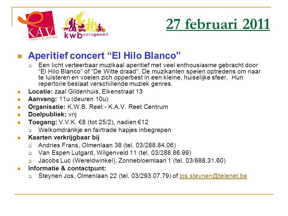 27 februari 2011 Aperitief concert El Hilo Blanco