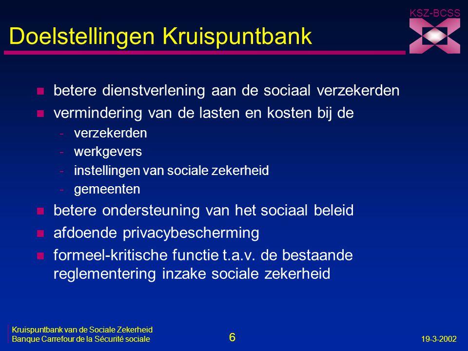 Doelstellingen Kruispuntbank